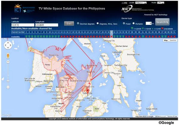 Figure 1: A screen shot of the White Space Database running with TV broadcasting data of the Philippines