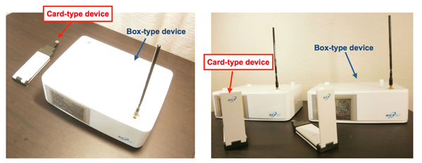 Figure 3 Appearance of the card-type and box-type communication devices.