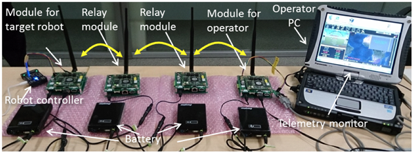 Fig. 2 Wireless module prototypes with a novel design in layer 2 for relay-based robot control.