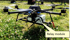 Fig. 4 Relay module installed on a multi-rotor drone.