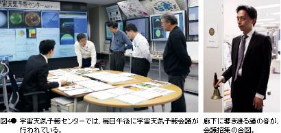 図4● 宇宙天気予報センターでは、毎日午後に宇宙天気予報会議が行われている。 廊下に響き渡る鐘の音が、会議招集の合図。