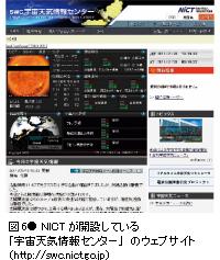 図6● NICTが開設している「宇宙天気情報センター」のウェブサイト(http://swc.nict.go.jp)